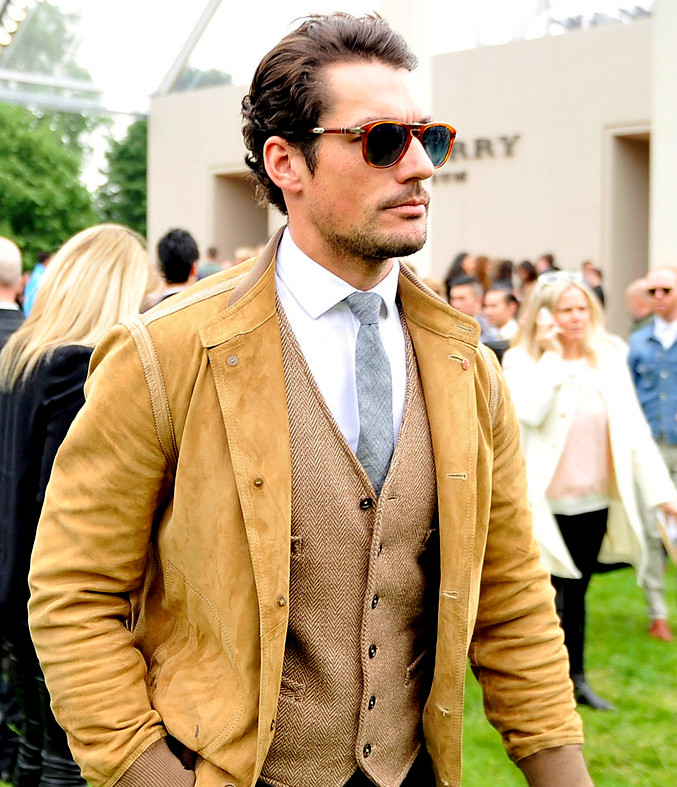David Gandy in Persol 714 SM Light havana with blue lenses