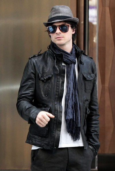 Ian Somerhalder in Persol 714SM Light havana with gradient blue polarized lenses