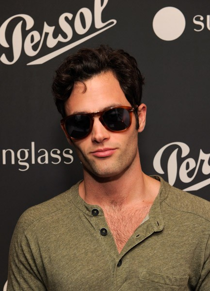 Penn Badgley in Persol 714SM Light havana with blue lenses