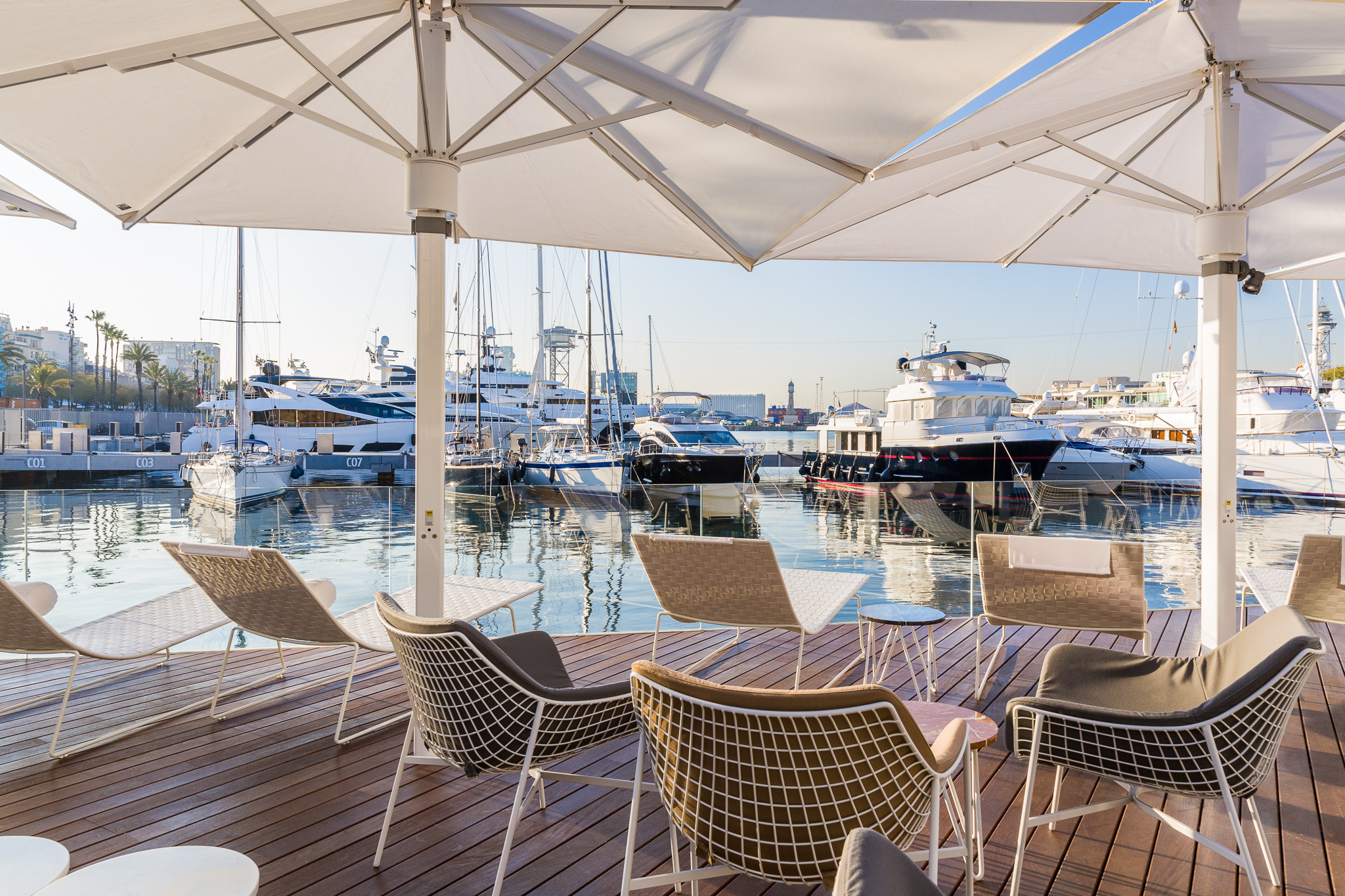 Lounging with a view of Port Vell Marina