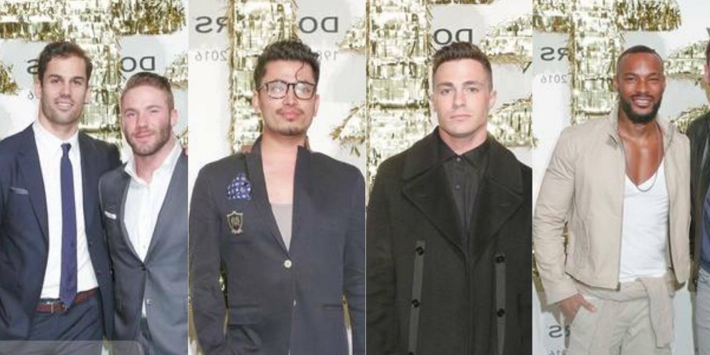 In the photo from left to right: CFDA Ambassadors and NFL Football Players Julian Edelman and Eric Decker, Global Luxury Brand Ambassador Pritan Ambroase, Actor Colton Haynes, supermodel Tyson Beckford attend during New York Fashion Week Men's Fall/Winter 2016