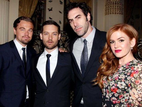 Leonardo DiCaprio, Tobey Maguire, Sacha Baron Cohen and Isla Fisher at The Plaza Hotel